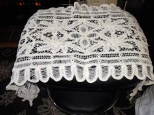 "ANTIQUE WHITE HAND MADE LACE CROCHET WORK TABLE RUNNER OPEN WORK 18"" X 46"""